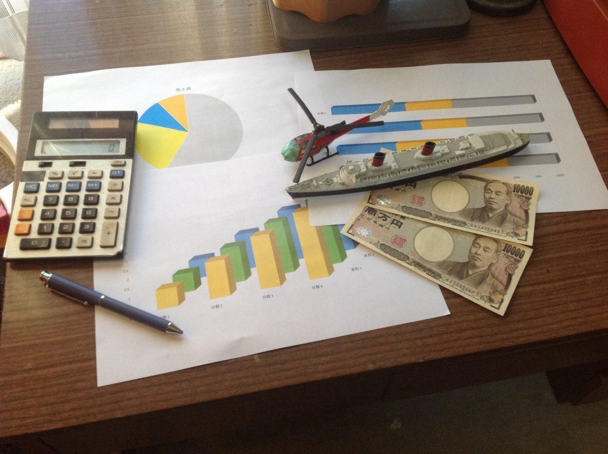 グラフと現金と電卓